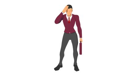 characters wearing suits stand holding their heads. body gestures indicate discrepancies, errors and bankruptcies. Stock Illustratie