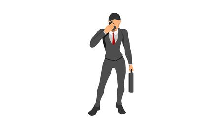 man talking using a cellphone. the gesture of the office worker calling.