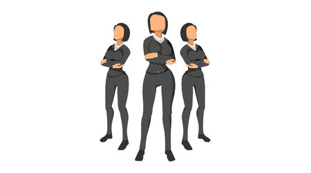 flat character vector worker neat clothes. work team character template without background. male and female character set.
