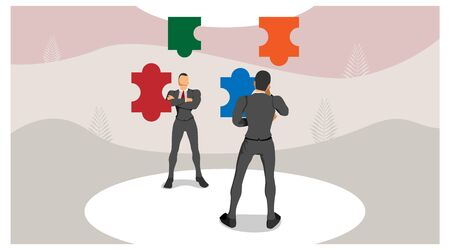 two men stood thinking about the puzzle. illustration of though mind determines vision. collide ideas, arrange puzzles.
