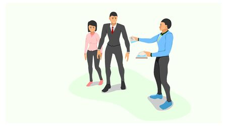 a sales marketing gives a brochure to a couple who is walking in front of him. share advertisements with brochure paper media. face to face promotion offers products. Illustration