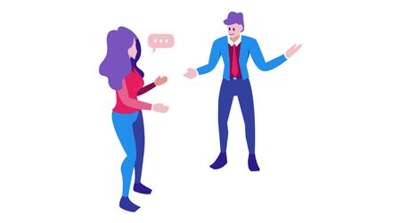a woman asks a man who shows direction. flat verbal communication character design.