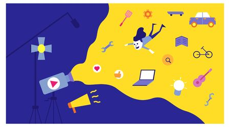 landing page for young people's creative media. various modern content. illustration of digital record media.