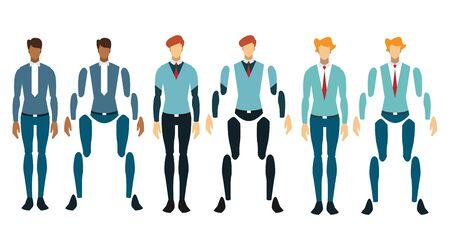 Businessman working character design set. Vector