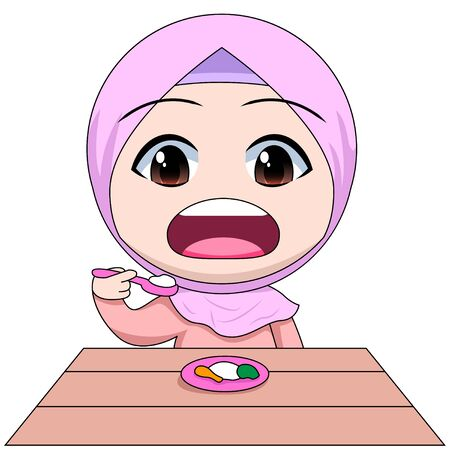 Chibi Muslim female cartoon characters. eating with a spoon. hungry, replenishes energy. 일러스트