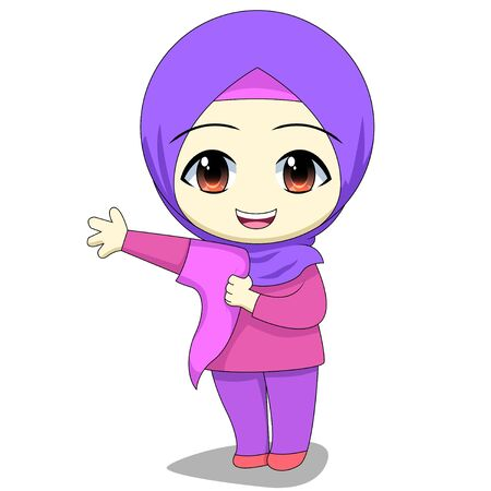 Chibi Muslim female cartoon characters. daily activities of children, are practicing wearing their own clothes.