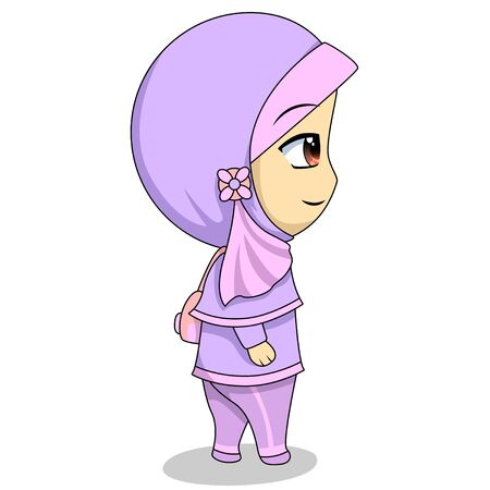 cartoon chibi Muslim female character. illustration walking alone leaving for school carrying a bag.