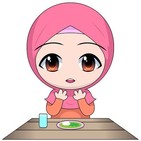 cartoon chibi Muslim woman character. pray before eating. be grateful for food in Islam. 일러스트
