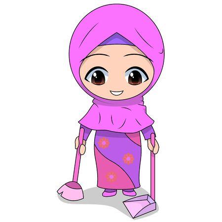 broom. cute Muslim children's cartoon. cartoon Children's daily fun activity. Vector Female Cartoon Character. childrens story books.