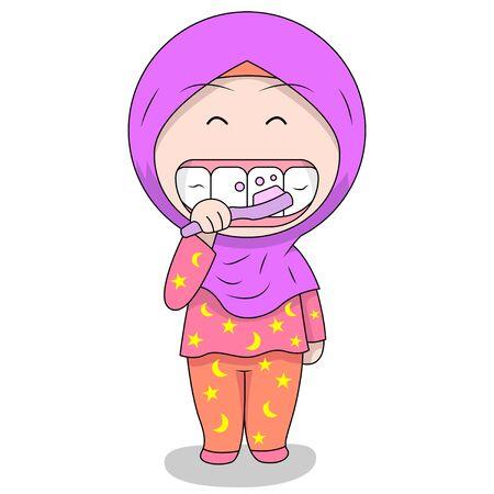 cute Muslim children - brushing teeth. fun daily activities. Vector - Cartoon character of a happy woman. Stock Illustratie