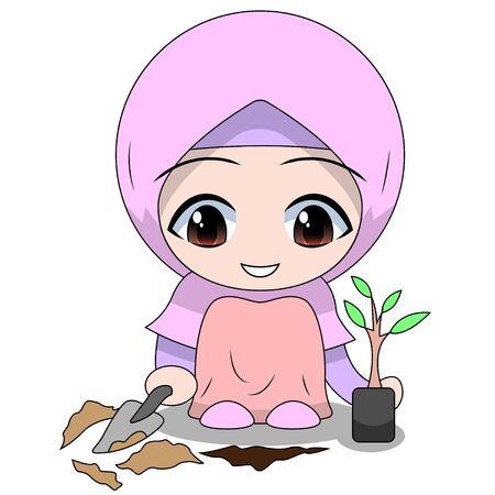 cute Muslim children - planting. fun daily activities. Vector - Cartoon character of a happy woman. Stock Illustratie
