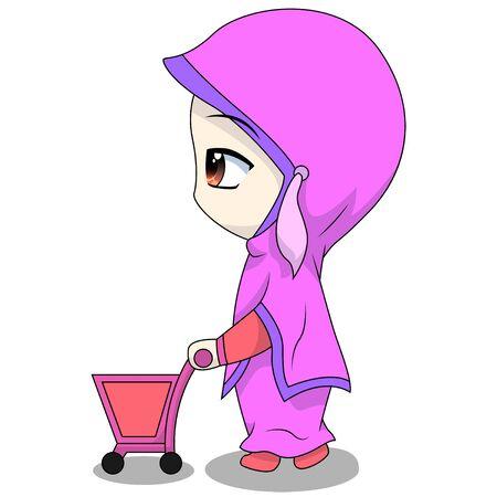 cute Muslim kids - pushing a shopping basket. fun daily activities. Vector - Cartoon character of a happy woman.