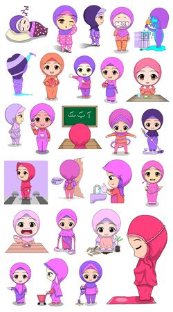 woman character in different poses set vector illustration. daily activities Stock Illustratie