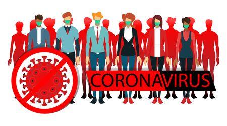 coronavirus illustration flat color. people wear masks. virus