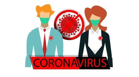 coronavirus illustration flat. people wear masks. anti-bacterial virus Stock Illustratie