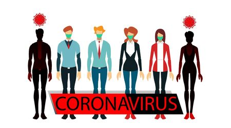 comparison of healthy people with contracted viruses Stock Illustratie