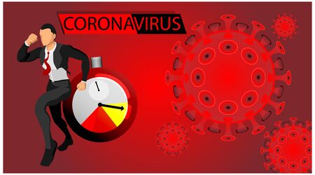 headline illustration of the corona virus time bomb impacting businessman. danger