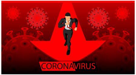 headlines for disease virus themes. the shadow of the corona virus. businessman and coronavirus - flyer Stock Illustratie