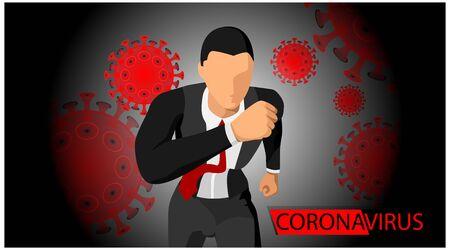 illustration of the dangers of corona virus. Virus terror impacts businessmen. Stock Illustratie