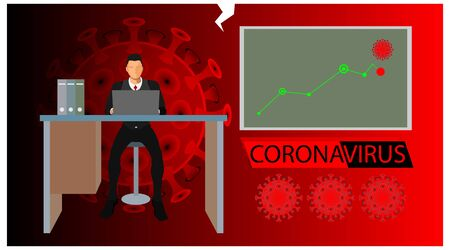 infographics of company profits and losses at the time of corona outbreak. news on financial business themes when there is a coronavirus Stock Illustratie