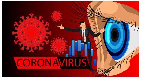 corona virus news headlines impacted the decline in company shares. corona virus flyer in the financial sector