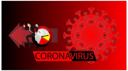 Coronavirus banner for awareness & alert to the spread of disease, symptoms or preventive measures. Corona virus design with stopwatch and background microscopic view of the virus.