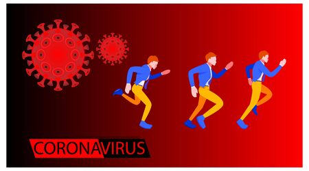 Coronavirus banner for awareness & alert to the spread of disease, symptoms or preventive measures. Corona virus design with people running and background microscopic view of the virus. Stock Illustratie