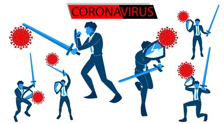 Coronavirus banner for awareness & alert to the spread of disease, symptoms or preventive measures. Corona virus design with vector illustration of people and background of microscopic view of viruses. infected Stock Illustratie