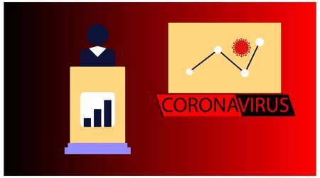 Coronavirus banner for awareness & alert to the spread of disease, symptoms or preventive measures. Corona virus design with infographic news and background microscopic view of viruses.