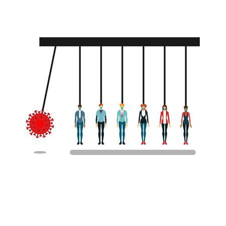 illustration, corona virus attack, vector