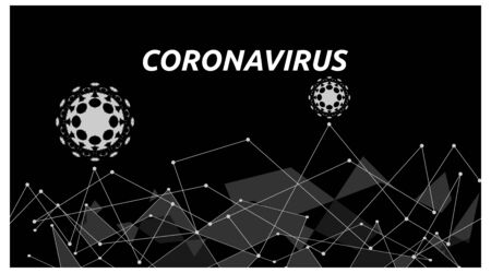 monochrome web template, about corona virus. black and white color style. vector
