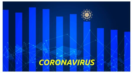 financial presentation headline template, about corona virus with bar charts. modern style design. vector Stock Illustratie