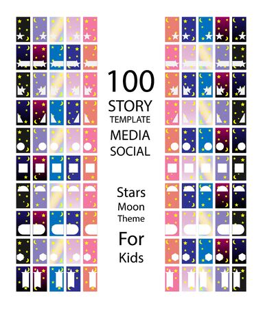 100 bundles of social media story templates, with moon and stars colors fun, kids style. vector-eps Stock Illustratie