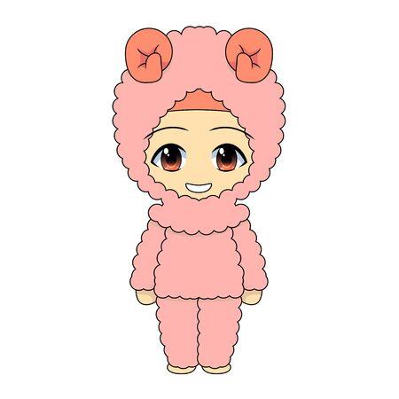 goat costume animal theme festival. Cute Muslim children's cartoon. Daily fun activities. Vector - Cartoon character of a happy woman.