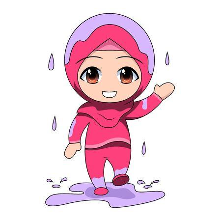 illustration of rain. Cute Muslim children cartoon. Daily fun activity. Vector - happy female Cartoon Character. rainy season holiday Stock Illustratie