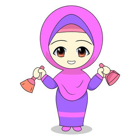 Cute Muslim children cartoon. Daily fun activity. Vector - happy female Cartoon Character. illustration