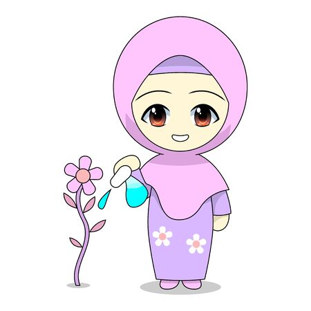 Cartoons of Muslim women caring for plants. Daily fun activities. Vector - illustration of cute character Stock Illustratie