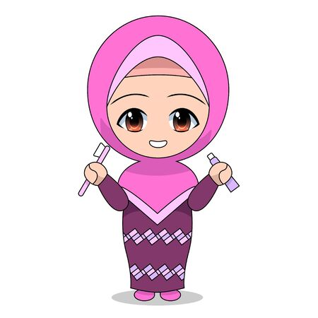 Cartoons of Muslim women caring for teeth. Daily fun activities. Vector - illustration of cute character Stock Illustratie