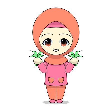 Cartoons of Muslim women farming. Daily fun activities. Vector -  illustration of cute character Stock Illustratie