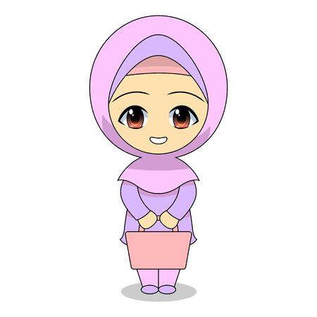 Cartoon Muslim women shopping. Daily fun activities. Vector -  illustration of cute character