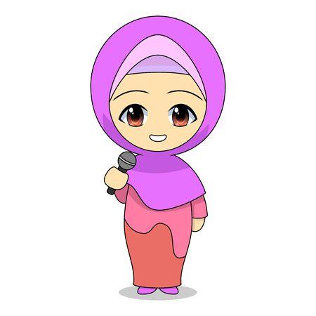 Cartoons of Muslim women singing. Daily fun activities. Vector -  illustration of cute character Stock Illustratie