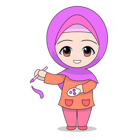 Cartoon Muslim girl holding a brush and color paint. Fun daily coloring activities. Vector illustration of a funny character. education