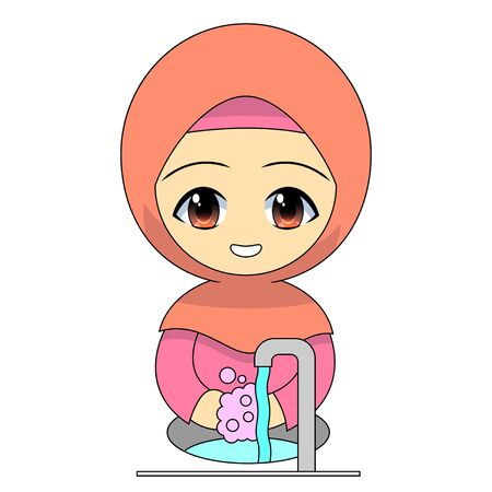 Cartoon Muslim girl washing hands with soap. Daily activities maintain pleasant personal hygiene. Funny character vector illustration