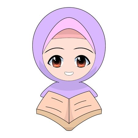 Cartoon Muslim girl reading a book or the Quran. Daily fun activities. Funny character vector illustration Stock Illustratie