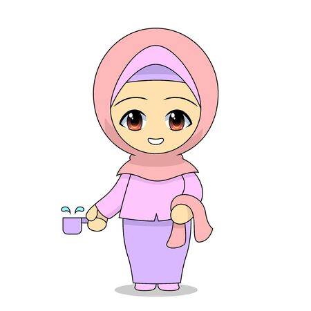 Muslim girl cartoon bathing. Daily fun activities. Funny character vector illustration for kids