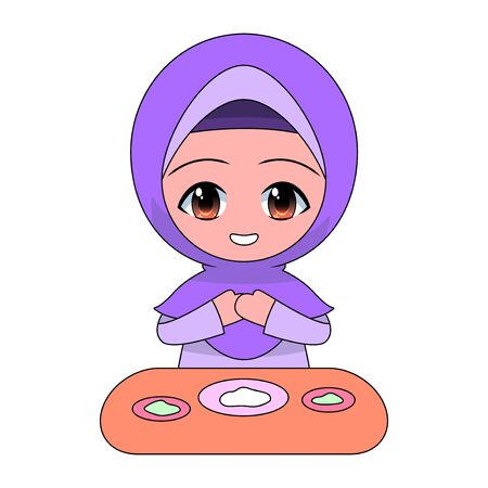 Cartoon Muslim girl eating. Daily fun activities. Funny character vector illustration for kids