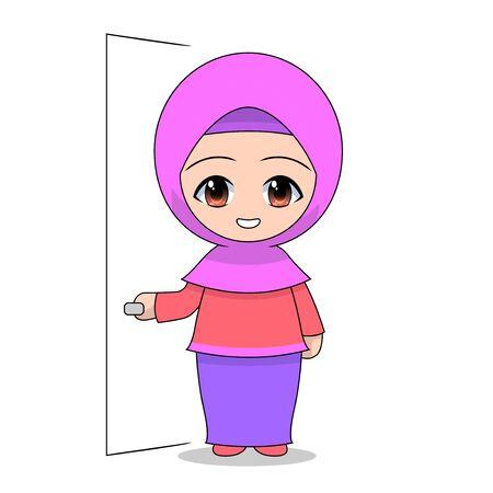 Cartoon Muslim girl holding the door. Daily fun activities. Funny character vector illustration for kids Stock Illustratie
