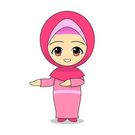 Promotional Cartoon Muslim Girls. Daily fun activities. Funny character vector illustration for kids