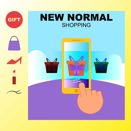 the concept of online shopping. display e-commerce smartphone users. practice of digital transactions. vector Stock Illustratie