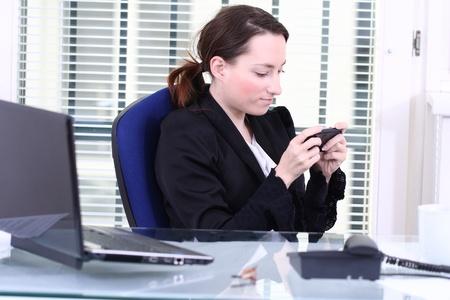 writing SMS Stock Photo